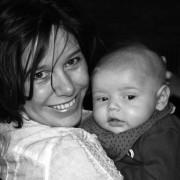 Sara Spits met baby Lars.